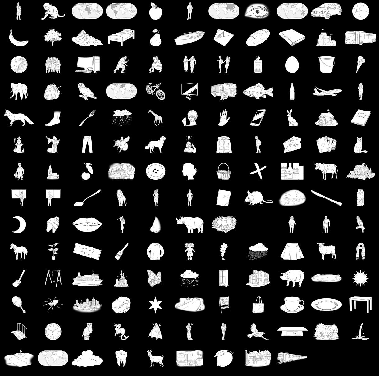 Thumbnails der Bilder der konkreten Nomen