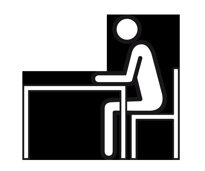 Die Grafik zeigt ein Strichmännchen, das auf einem Stuhl an einem Schreibtisch sitzt. Die Unterarme des Männchens liegen auf dem Tisch, der Kopf ist leicht nach unten gebeugt.